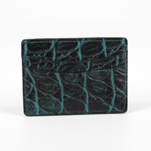 Genuine Crocodile Card Case Black/Turquoise