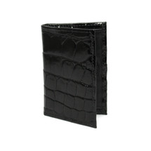 Genuine Alligator Gusseted Card Case Black