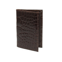 Genuine Alligator Gusseted Card Case Brown