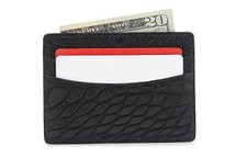 Genuine Alligator Credit Card Case Matte Black