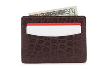 Genuine Alligator Credit Card Case Matte Brown