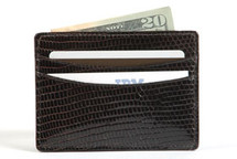 Genuine Lizard Credit Card Case Brown
