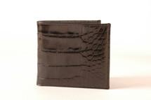 Hipster Genuine Alligator Wallet Glazed Black with ID Window