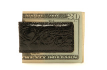 Magnetic Genuine Alligator Money Clip Glazed Black