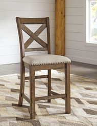 Moriville Beige Upholstered Barstool(Set of 2)