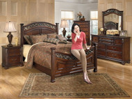 Leahlyn Warm Brown 7 Pc. Dresser, Mirror, California King Panel Bed & 2 Nightstands