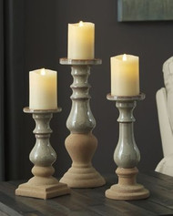 Emele Taupe Candle Holder Set