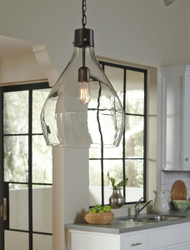 Avalbane Clear/Gray Glass Pendant Light