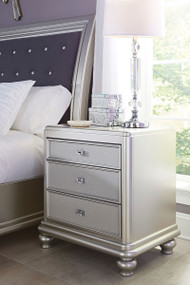 Coralayne Silver Three Drawer Night Stand
