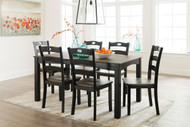 Froshburg Grayish Brown/Black Dining Room Table Set (7/CN)