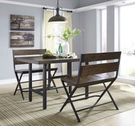 Kavara Medium Brown 3 Pc. Rectangular Dining Room Counter Table & 2 Double Barstools