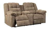 Workhorse Cocoa Double Rec Loveseat with Console