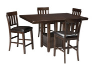 Haddigan Dark Brown 5 Pc. Rectangular Dining Room Counter Extension Table & 4 Upholstered Barstools