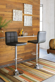 Adjustable Height Barstools Black/Chrome Finish Tall Upholstered Swivel Barstool(Set of 2)