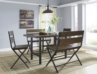 Kavara Medium Brown 5 Pc. Rectangular Dining Room Counter Table, 2 Barstools & 2 Double Barstools