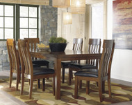 Ralene Medium Brown 7 Pc. Rectangular Dining Room Butterfly Extension Table & 6 Upholstered Side Chairs