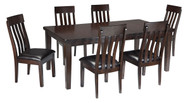 Haddigan Dark Brown 7 Pc. Rectangular Dining Room Extension Table & 6 Upholstered Side Chairs
