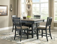 Tyler Creek Black/Gray 5 Pc. Rectangular Dining Room Counter Table & 4 UPH Barstools