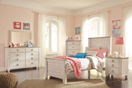 Willowton Whitewash 6 Pc. Dresser, Mirror, Chest & Twin Panel Bed