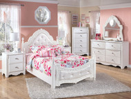 Exquisite White 4 Pc. Dresser, French Style Mirror & Full Padded Poster Bed