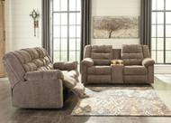 Workhorse Cocoa Reclining Sofa & Double Reclining Loveseat with Console