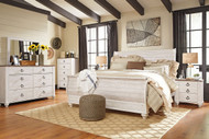 Willowton Whitewash 6 Pc. Dresser, Mirror, Chest & King Sleigh Bed