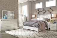 Dreamur Champagne 7 Pc. Dresser, Mirror, Chest, Queen Panel Bed & 2 Nightstands