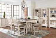 Bolanburg Antique White 11 Pc. Rectangular Dining Room Counter Table, 6 Upholstered Barstools, Dining Room Server & 3 Display Cabinets