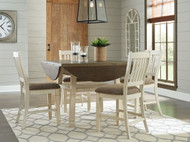 Bolanburg Two-tone 5 Pc. Round Drop Leaf Counter Table & 4 UPH Barstools