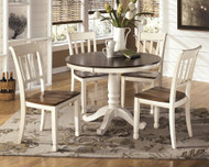 Whitesburg Brown/Cottage White 6 Pc. Round DRM Table & 4 Side Chairs