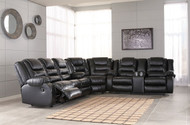 Vacherie Black REC Sofa, Wedge & DBL REC Loveseat with Console Sectional