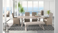 Beachcroft Beige Dining Set with Bench, 2 Side Chairs & 2 Arm Chairs