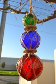 "Reproduction Trio Glass Float Fishing Ball Buoy 3"" 4"" 5"""
