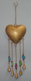 Heart Rusty Iron Metal Bells Windchime