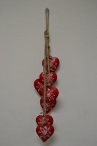 Red Heart Rusty Iron Metal Bells Windchime
