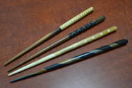 Carved Buffalo Bone Wood Hair Sticks Pins