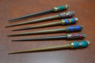 Assort Shell Color Gold Plated Wood Hair Sticks Pins