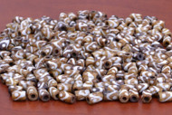 Coffee Brown Mudbone Wavy Dotted Bone Tube Beads 9mm