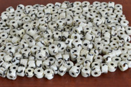 Off White Carved Wavy Buffalo Bone Round Beads 7mm