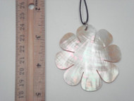 Carved Golden Mother of Pearl Flower Pendant 60mm
