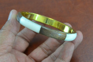 Brown and White Shell Gold Plated Bangle
