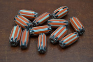 12 Pcs Orange and White  Cheveron Glass Beads