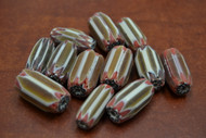 12 Pcs Brown, White, & Red  Cheveron Glass Beads