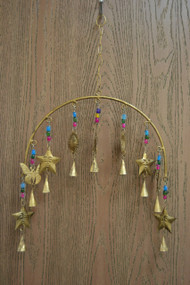 Handmade Star Sun Rusty Iron Metal Bells Windchime