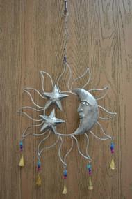 Handmade Star Sun Moon Rusty Iron Metal Bells Windchime