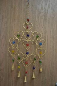 Handmade Heart Rusty Iron Metal Bells Windchime
