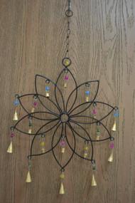 Handmade Flower Rusty Iron Metal Bells Windchime