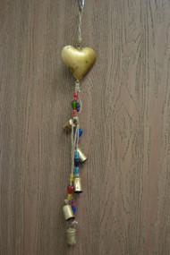 Handmade Rusty Iron Heart Metal Bells Windchime