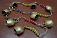 "8 Pcs Handmade Rusty Iron Metal Bells String 44"""