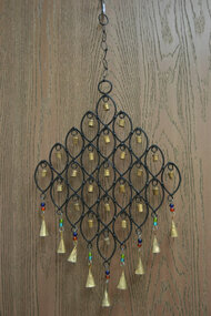 Handmade Oval Diamond Rusty Iron Metal Bells Windchime
